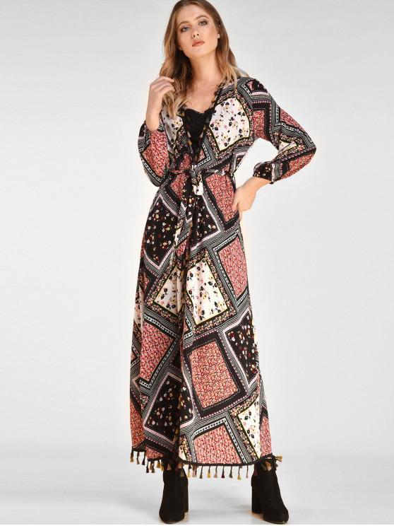 fashion ZAFUL Tassel Print Long Belted Wrap Dress - BLACK L