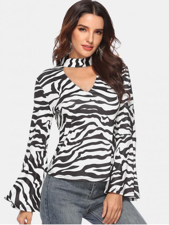 Aufflackern Ärmel Zebra Choker Tee - Multi M
