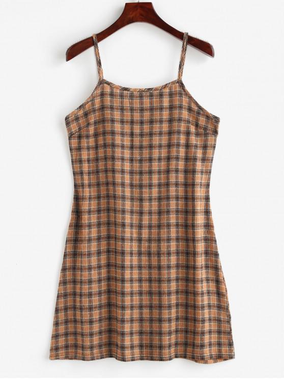 shops Back Zipper Plaid Cami Dress - MULTI S