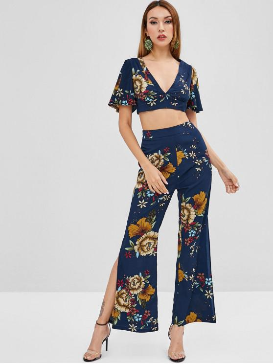 a2806a7e27 26% OFF] 2019 ZAFUL Floral Crop Top Flare Pants Two Piece Set In ...