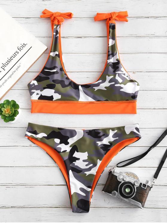 ZAFUL Camo Knot Reverseible Bikini Set - هالوين برتقالي S