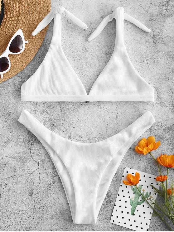 ZAFUL   Bikini-Set Mit Gerippter Krawatte an der Schulter - Weiß S