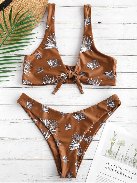 trendy ZAFUL Tied Bralette Flower Bikini Set - MULTI-A L