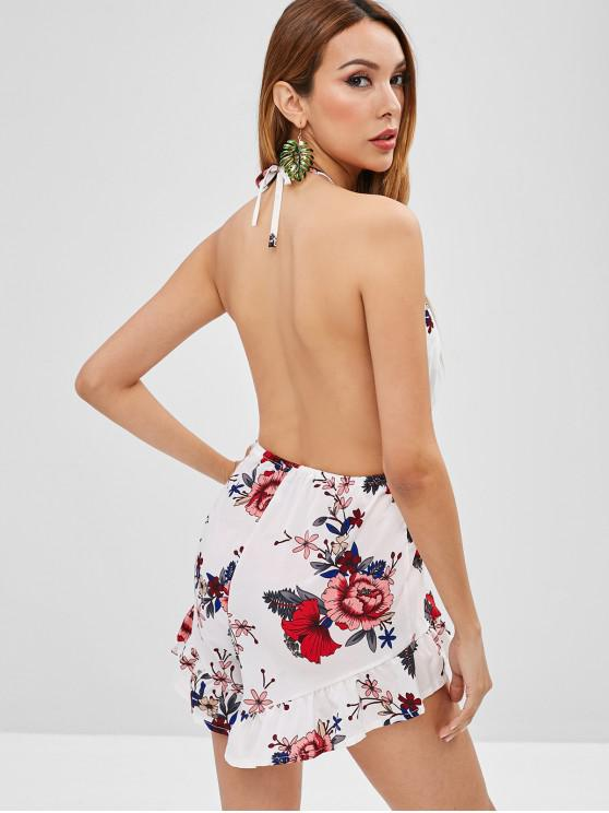 fashion Ruffles Floral Backless Romper - WHITE M