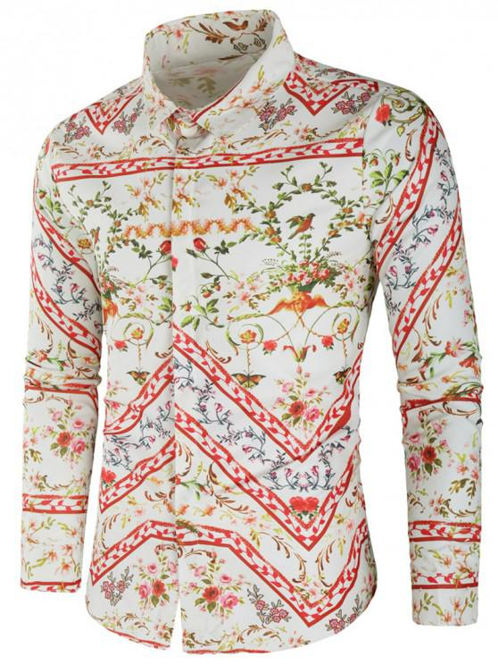 ladies Floral Geometric Print Casual Shirt - MULTI 2XL