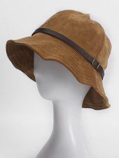 Belt Buckle Retro Corduroy Bucket Hat - Camel Brown