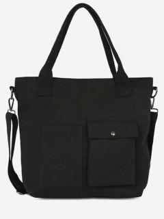 Pocket Decoration Large Capacity Handbag - Black
