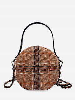 Round Shape Tartan Pattern Handbag - Light Khaki