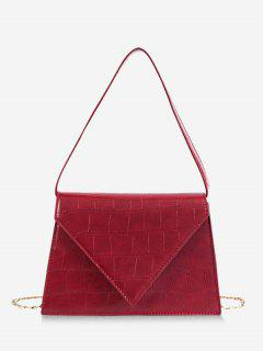Simple Style Textured Design Handbag - Red