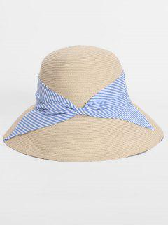 Straw Foldable Striped Bowknot Bucket Hat - Light Blue