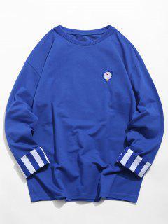 Sweat-shirt Rayé Brodé Manches Longues à Col Rond - Bleu Cobalt Xl