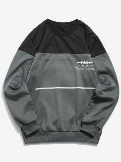 Letters Print Line Pullover Sweatshirt - Dark Gray Xs