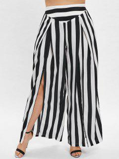 ZAFUL Striped Plus Size Split Wide Leg Pants - Black 3x