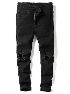 Solid Color Knee Ripped Hole Casual Jeans - Black 32