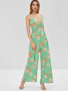 Floral Print Cami Wide Leg Jumpsuit - Algae Green M