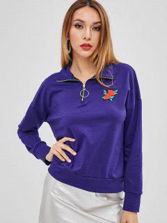 ZAFUL Half Zip Floral Embroidered Sweatshirt - Purple Iris