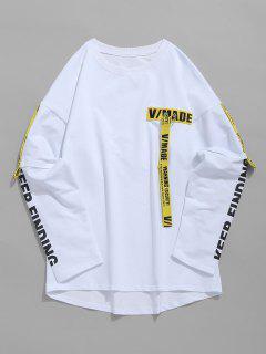 Woven Belt Decoration Patchwork T-shirt - White Xl