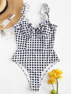 ZAFUL Plaid Ruffle Swimsuit - Multi-a L