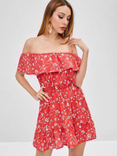 Ruffles Floral Off Shoulder Dress - Valentine Red L