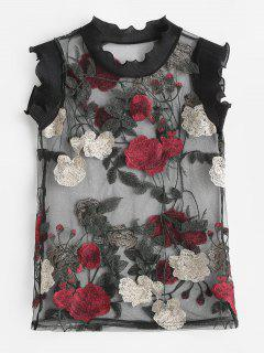 See Through Floral Embroidered Tank Top - Black Xs