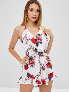 Ruffles Floral Backless Romper - White M