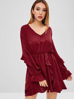 A Line Ruffled Mini Dress - Red Wine Xl