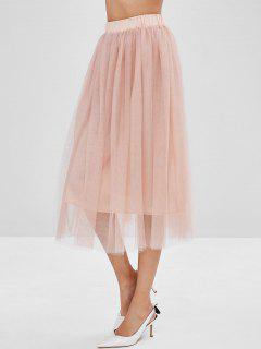 Mesh Overlay A Line Skirt - Pink M