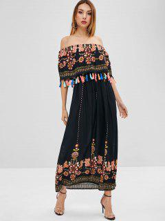 Overlay Printed Tassels Off Shoulder Dress - Black L