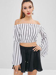Flare Sleeve Striped Off Shoulder Blouse - Milk White M