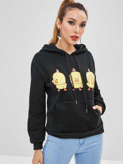 Chick Graphic Kangaroo Pocket Hoodie - Black Xl