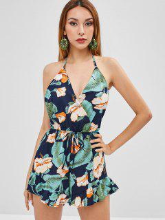 Ruffles Floral Backless Romper - Midnight Blue M
