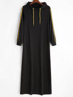 Letter Patch Hoodie Dress - Black M
