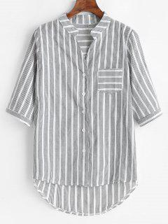 Stripes Pocket High Low Shirt - Multi S