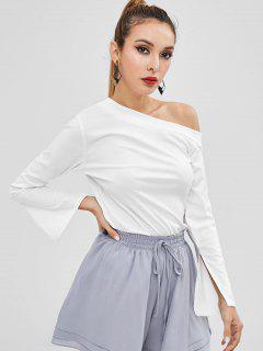 Long Sleeve One Shoulder Top - White Xl