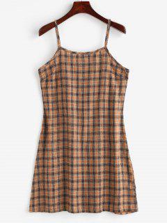 Back Zipper Plaid Cami Dress - Multi L