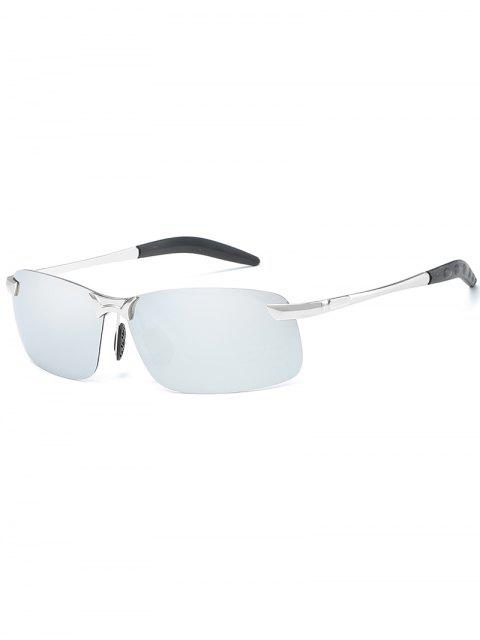 best Metal Frame Polarized Rimless Rectangle Sunglasses - PLATINUM  Mobile