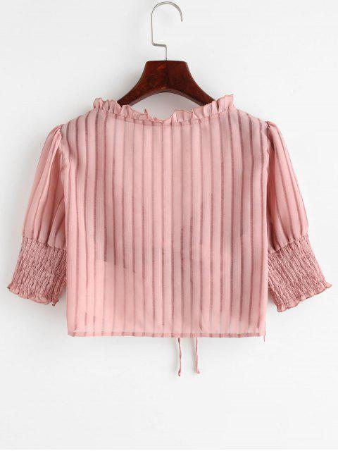 unique ZAFUL Shadow Striped Cinched Crop Blouse - PINK XL Mobile
