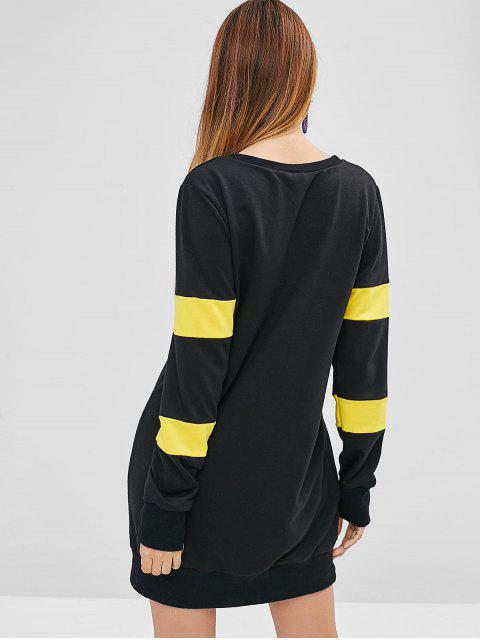 ZAFUL Mini Robe Sweat-shirt en Blocs de Couleurs - Noir M Mobile