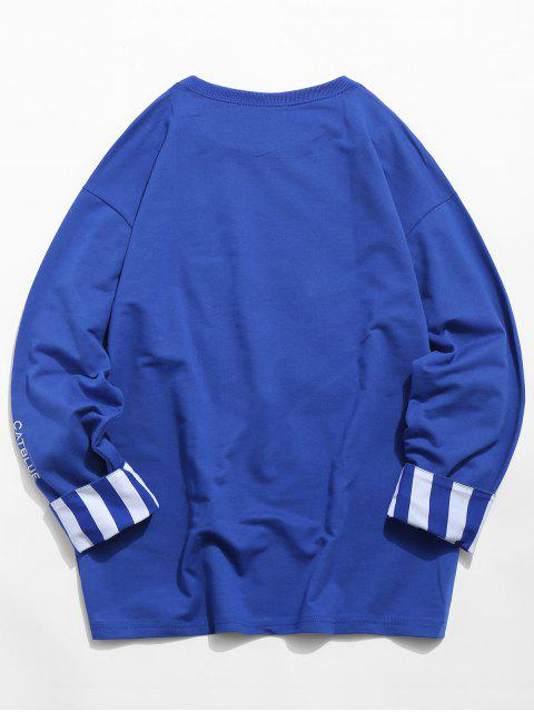 women Stripes Long Sleeves Embroidery Crew Neck Sweatshirt - COBALT BLUE S Mobile
