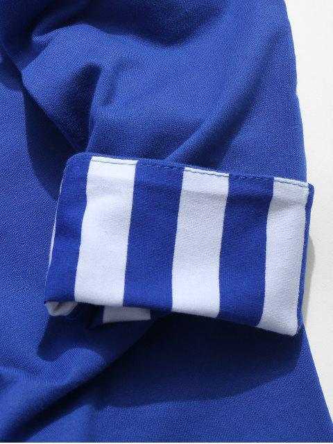 ladies Stripes Long Sleeves Embroidery Crew Neck Sweatshirt - COBALT BLUE L Mobile