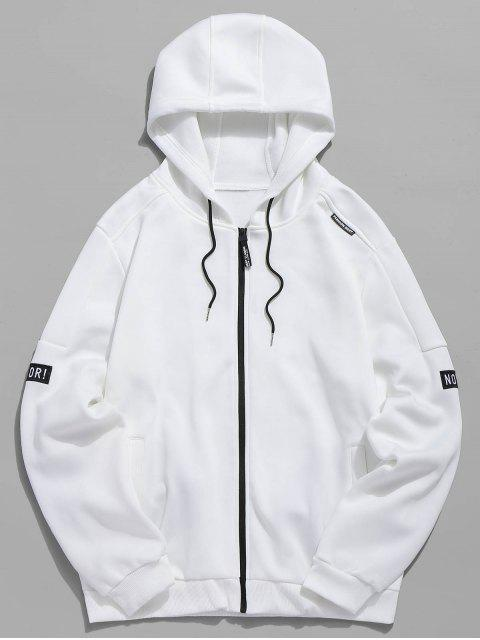 hot Applique Zipper Casual Hoodie - WHITE L Mobile