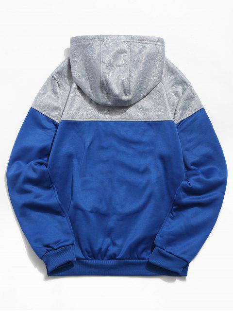 Sweat à Capuche Lettre Imprimée avec Poche Kangourou - Bleu Myrtille M Mobile