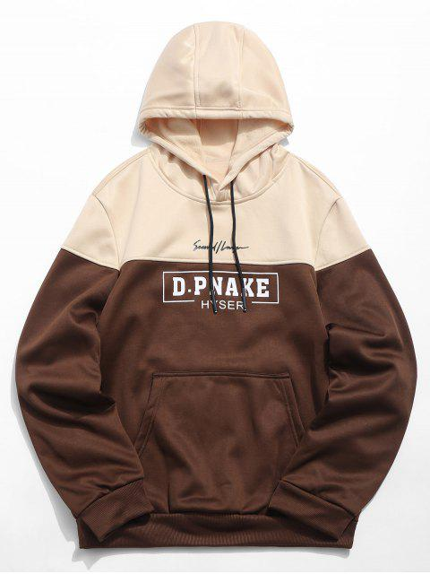 affordable Letters Print Kangaroo Pocket Pullover Hoodie - COFFEE L Mobile