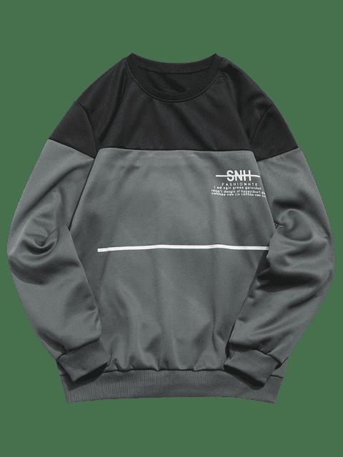 ladies Letters Print Line Pullover Sweatshirt - DARK GRAY S Mobile