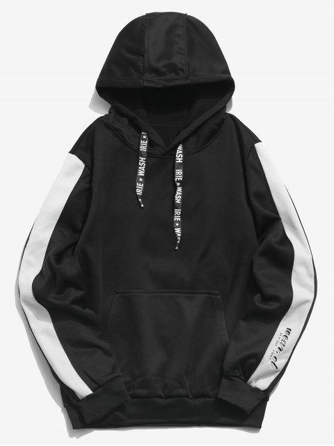 hot Letters Print Panel Pullover Hoodie - BLACK XS Mobile