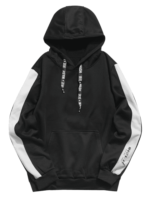 outfit Letters Print Panel Pullover Hoodie - BLACK S Mobile