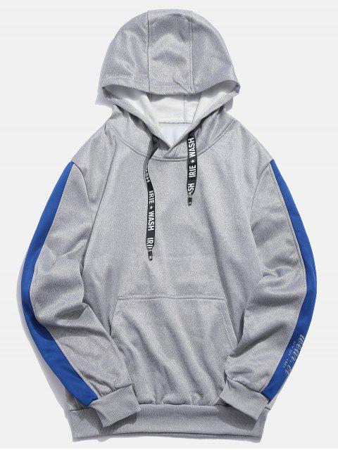 fashion Letters Print Panel Pullover Hoodie - LIGHT GRAY L Mobile