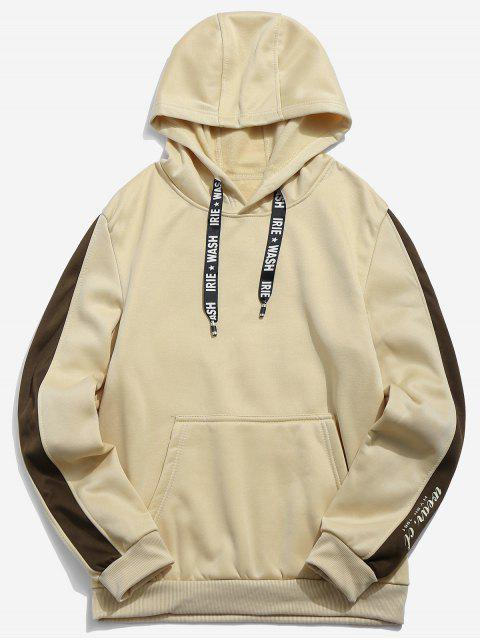 chic Letters Print Panel Pullover Hoodie - LIGHT KHAKI XS Mobile