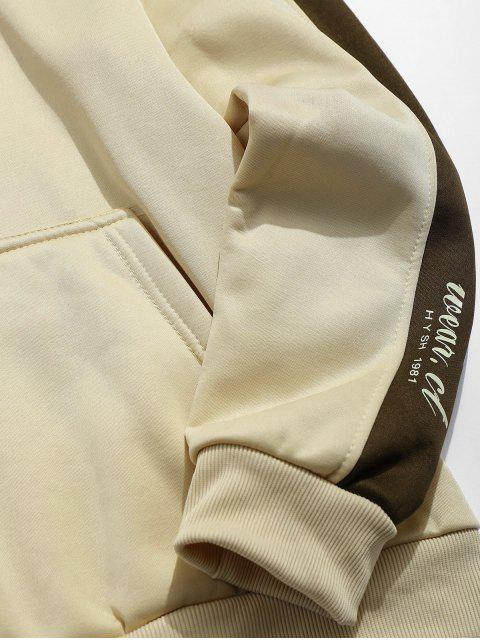 fancy Letters Print Panel Pullover Hoodie - LIGHT KHAKI S Mobile