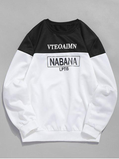 buy Letters Print Crew Neck Sweatshirt - BLACK S Mobile